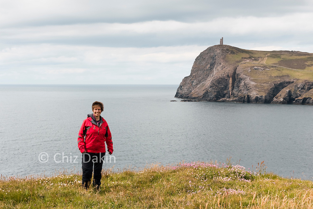 View across Port Erin bay to the Milner Tower on Bradda Head