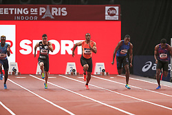 February 7, 2018 - Paris, Ile-de-France, France - From left to right : Meba-mickael Zeze of France, Hassan Tafian of Iran, Jimmy Vicaut of France, Ojie Edoburun of Great Britain compete in 60m during the Athletics Indoor Meeting of Paris 2018, at AccorHotels Arena (Bercy) in Paris, France on February 7, 2018. (Credit Image: © Michel Stoupak/NurPhoto via ZUMA Press)