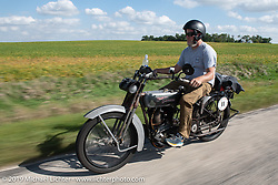 Billy Page riding his 1916 Harley-Davidson model J on the Motorcycle Cannonball coast to coast vintage run. Stage 7 (274 miles) from Cedar Rapids to Spirit Lake, IA. Friday September 14, 2018. Photography ©2018 Michael Lichter.