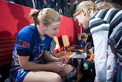 Barbara Varlec signing autographs after EHF Champions league handball match in Group II between RK Krim Mercator and Gyori Audi Eto KC, on February 7, 2009, in Kodeljevo, Ljubljana, Slovenia. Gyori won 35:31. (Photo by Vid Ponikvar / Sportida)