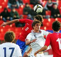 15.11.2009 Novi Sad(Serbia)<br /> Serbia-Norway football Under 21<br /> Norge - Serbia U21<br /> <br /> Uefa Euro qualify<br /> Thomas Rogne Norway.Serbia won Norway 3:2.
