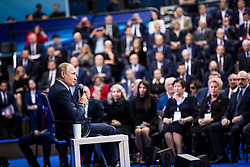 Jan. 30, 2018 - Moscow, Russia - Russian President VLADIMIR PUTIN gives a speech during the meeting with his authorized representatives ahead of the presidential elections in March at the Gostiny Dvor shopping mall in Moscow, Russia. (Credit Image: © Wu Zhuang/Xinhua via ZUMA Wire)