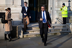 © Licensed to London News Pictures. 06/02/2020. London, UK. Co-Chairman of the Conservative Party James Cleverly leaves the Cabinet Office after the Cabinet meeting. Photo credit: Rob Pinney/LNP