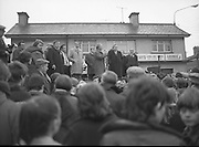 Image of Fianna Fáil leader Charles Haughey touring West Cork during his 1982 election campaign...04/02/1982.02/04/82.4th February 1982..Working the crowd:..Charles Haughey, microphone in hand, invites the assembled crowd to place Fianna Fáil in government. ..
