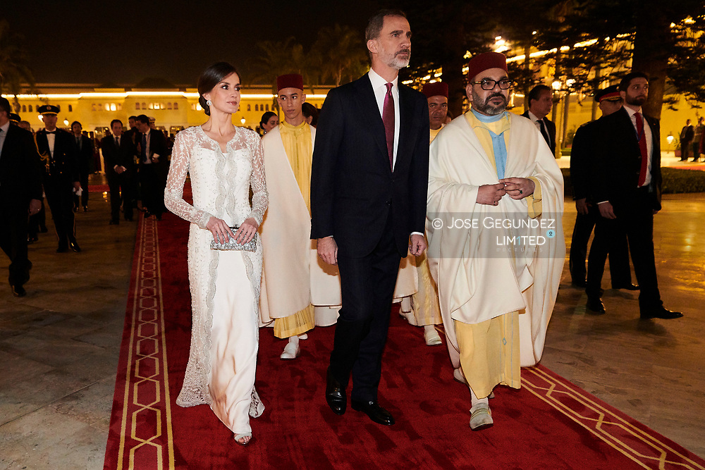 King Felipe VI of Spain, Queen Letizia of Spain, Mohammed VI of Morocco attends a Gala Dinner at Royal Palace on February 13, 2019 in Rabat, Morocco.<br /> The Spanish Royals are on a two day visit to Morocco