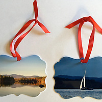 """Special Edition On Golden Pond Squam Lake Ornament. Two photographic prints printed on metal stock. Double Sided. Proudly Made in USA<br /> Approx 3x3"""""""