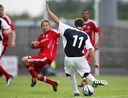 Ryan Flynn scores Falkirk's goal.<br /> Falkirk 1 v 0 FC Vaduz, Europa League Qualifying.<br /> ©2009 Michael Schofield. All Rights Reserved.