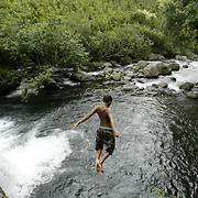 A swimming hole at the end of a long hike provides cool relief on Maui.