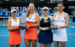 January 5, 2019 - Brisbane, AUSTRALIA - Nicole Melichar of the United States & Kveta Peschke of the Czech Republic and Latisha Chan & Hao-Ching Chan of Chinese Taipeh with their trophies after the doubles final of the 2019 Brisbane International WTA Premier tennis tournament (Credit Image: © AFP7 via ZUMA Wire)
