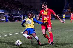 (L-R) Issa Kallon of SC Cambuur, Hamid Zarbaf of Go Ahead Eagles during the Jupiler League match between SC Cambuur Leeuwarden and Go Ahead Eagles at the Cambuur Stadium on February 02, 2018 in Leeuwarden, The Netherlands