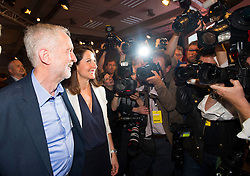 © Licensed to London News Pictures. 12/09/2015. London, UK. JEREMY CORBYN and LIZ KENDALL after the announcement that JEREMY CORBYN is the new Labour Party leader. The announcement of the new leader of the Labour Party at the QEII centre in Westminster, London on September 12, 2015. Former leader ED Miliband resigned after a heavy defeat at the last election. Photo credit: Ben Cawthra/LNP
