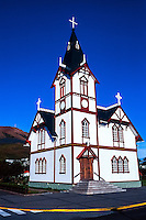 Iceland. The beautiful old church in Husavik.