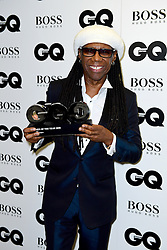 EMBARGOED UNTIL 11.30PM TUESDAY 6TH SEPTEMBER Nile Rodgers with the award for Icon in the press room at the GQ Men of the Year Awards 2016 in Association with Hugo Boss held at The Tate Modern in London. PRESS ASSOCIATION Photo. Picture date: Tuesday September 6, 2016. See PA story SHOWBIZ GQ. Photo credit should read: Ian West/PA Wire