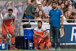 (L-R) Glenn Schuurman of The Netherlands, Valentin Verga of The Netherlands, coach Max Caldas of The Netherlands during the Champions Trophy match between the Netherlands and France on the fields of G.H.C. Rapid on June 15th, 2018 in Gorinchem, The Netherlands.