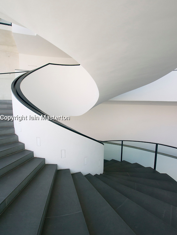 Stairway inside Neues Museum or New Museum modern art museum in Nuremberg Germany
