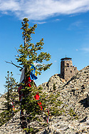 To the Lakota Sioux, Black Elk Peak is a sacred place. Prayer flags and offerings are tied to pine trees on the summit.  The peak's name was officially changed from Harney Peak to Black Elk Peak by the U.S. Board of Geographic Names on August 11, 2016. Black Elk was an Ogala Lakota medicine man, mystic and missionary. He also was a cousin of Crazy Horse and was at Battle of the Little Bighorn. As a young boy, he climbed the peak and had a vision of what would become of the Lakota.