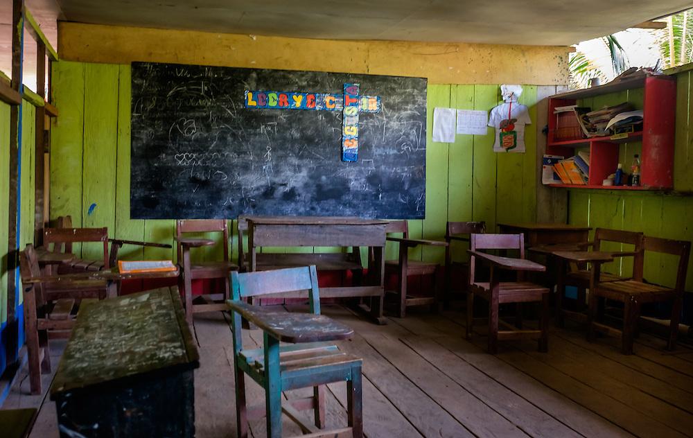 LORETO, PERU - CIRCA OCTOBER 2015:  Classroom in the Village of Puerto Miguel, in the Yarapa river in the Peruvian Amazon.
