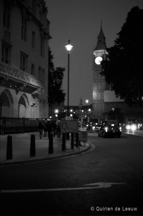 Street in London city at evening