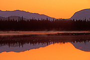 Jasper Lake and the Canadian Rocky Mountains<br /> Jasper National Park<br /> Alberta<br /> Canada