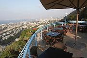 Israel, Haifa, view of the city and Haifa Bay from Stella Maris on the Carmel Mountain