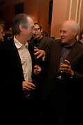 Ian McEwan and Justin Cartright. Book party for Saturday by Ian McEwan, Polish Club, South Kensington.  4 February 2005. ONE TIME USE ONLY - DO NOT ARCHIVE  © Copyright Photograph by Dafydd Jones 66 Stockwell Park Rd. London SW9 0DA Tel 020 7733 0108 www.dafjones.com