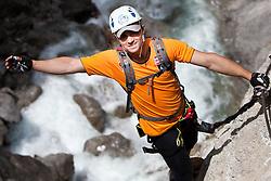 """10.06.2010, Galitzenklamm, Amlach, AUT, OeSV, Medientermin WC Gruppe Kombi, im Bild im Klettersteig """"Adrenalin"""", EXPA Pictures © 2010, PhotoCredit: EXPA/ J. Groder / SPORTIDA PHOTO AGENCY"""