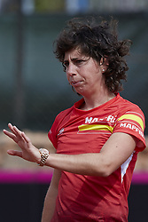 April 21, 2018 - La Manga, Murcia, Spain - Carla Suarez Navarro of Spain reacts during training during day one of the Fedcup World Group II Play-offs match between Spain and Paraguay at Centro de Tenis La Manga Club on April 21, 2018 in La Manga, Spain  (Credit Image: © David Aliaga/NurPhoto via ZUMA Press)