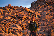 James Meldrum in the Boulder Field below Longs Peak at sunrise, Rocky Mountain National Park, Colorado.