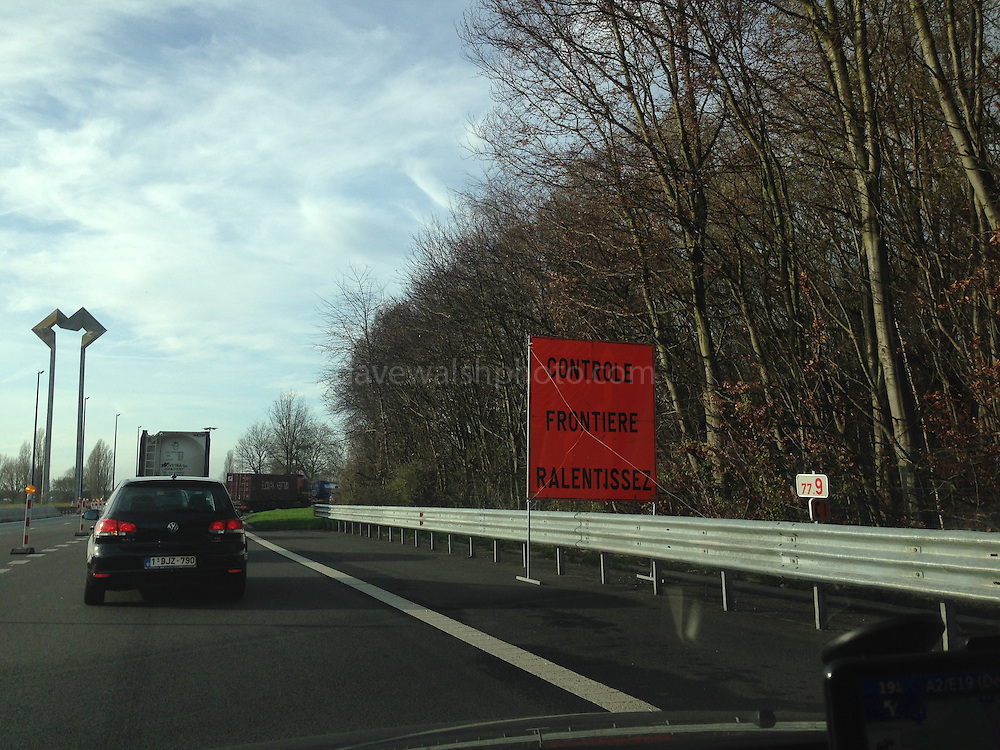 Massive queues crossing Belgium-France Border following controls put in place after November Paris attacks.