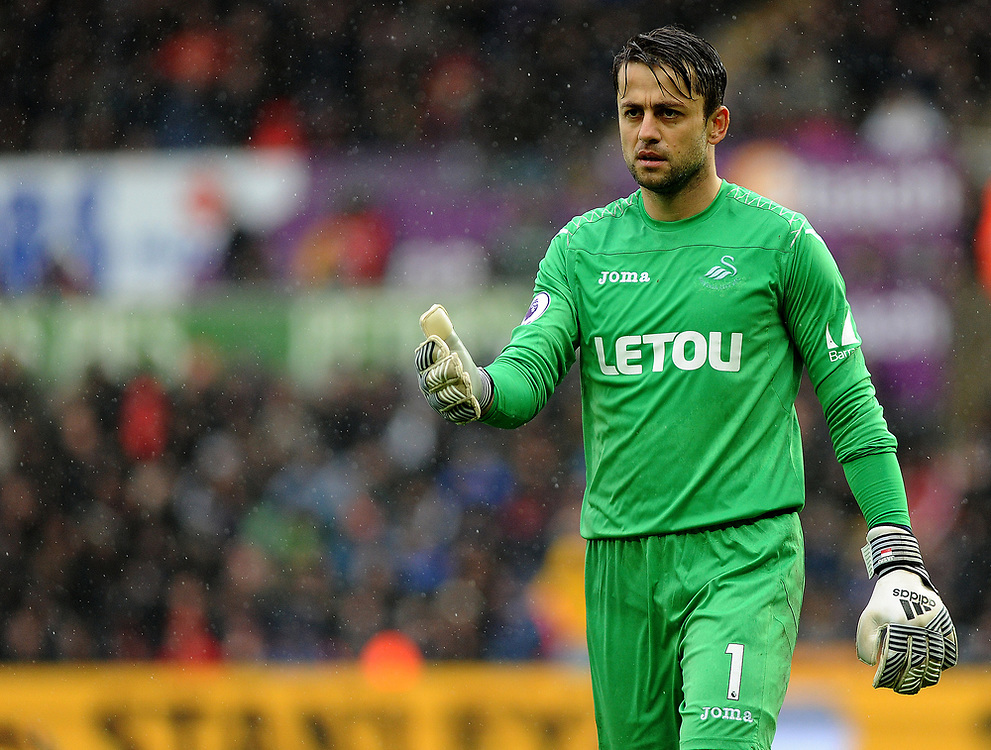 Swansea City's Lukasz Fabianski <br /> <br /> Photographer Ashley Crowden/CameraSport<br /> <br /> The Premier League - Swansea City v Leicester City - Saturday 21st October 2017 - Liberty Stadium - Swansea<br /> <br /> World Copyright © 2017 CameraSport. All rights reserved. 43 Linden Ave. Countesthorpe. Leicester. England. LE8 5PG - Tel: +44 (0) 116 277 4147 - admin@camerasport.com - www.camerasport.com