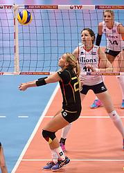 04-01-2016 TUR: European Olympic Qualification Tournament Nederland - Duitsland, Ankara <br /> De Nederlandse volleybalvrouwen hebben de eerste wedstrijd van het olympisch kwalificatietoernooi in Ankara niet kunnen winnen. Duitsland was met 3-2 te sterk (28-26, 22-25, 22-25, 25-20, 11-15) / Mareen Apitz #20 of Germany