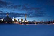 Canadian Museum for Human Rights (CMHR) and the Esplanade Rile Bridge in winter<br /> Winnipeg<br /> Manitoba<br /> Canada