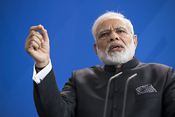 May 30, 2017 - Berlin, Germany - Indian Prime Minister Nerendra Modi is pictured during a news conference held with German Chancellor Angela Merkel (not in the picture) following a signing ceremony of agreements between the two governments at the Chancellery in Berlin, Germany on May 30, 2017. (Credit Image: © Emmanuele Contini/NurPhoto via ZUMA Press)