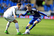 Scott Malone of Cardiff city (r) in action.Skybet football league championship match, Cardiff city v Bolton Wanderers at the Cardiff city Stadium in Cardiff, South Wales on Saturday 23rd April 2016.<br /> pic by Andrew Orchard, Andrew Orchard sports photography.