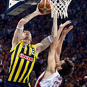 Fenerbahce Ulker's Darjus LAVRINOVIC (L) during their Turkish Basketball league Play Off Final Sixth leg match Galatasaray between Fenerbahce Ulker at the Abdi Ipekci Arena in Istanbul Turkey on Friday 17 June 2011. Photo by TURKPIX