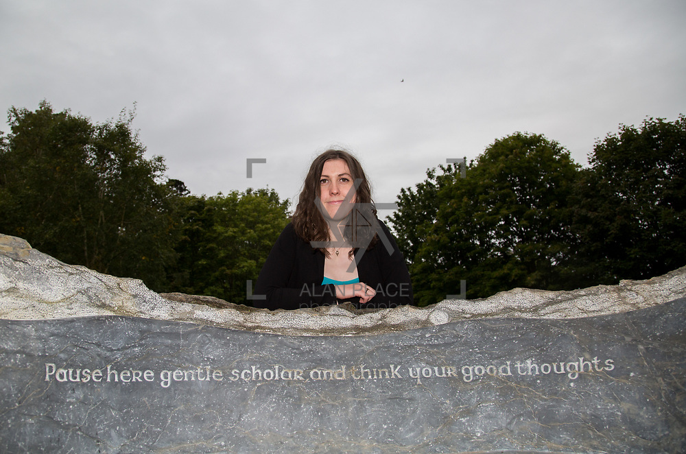 29.08. 2017.                                                   <br /> A new scholarship, the Roibeárd Thornton Memorial-Janssen Scholarship, was launched at the University of Limerick, named in memory of Dr Roibeárd Thornton, a graduate of the University. Dr Thornton, who had been working with Janssen Pharmaceuticals in Cork for over 4 years, had just returned to Limerick with his family when he was tragically killed in a car crash in January 2016.<br /> <br /> Pictured at the event was Scholarship recipient, Niamh Phelan, Kilkenny.<br /> <br /> <br /> A special seat using rock from the family land of Dr Roibeárd Thornton, was commissioned by his UL science family and brought to campus as a permanent reminder of his gentle soul. It is positioned close to Plassey House overlooking a grass valley with the River Shannon in view. Picture: Alan Place<br /> <br /> <br /> For more information, contact:<br /> Sarah Hartnett, University of Limerick Foundation Tel: 086-3872863; Email: sarah.hartnett@ul.ie