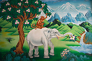 Elephant, monkey, rabbit and pigeon painting, The Tibetan Lamaistic Buddhist Songtsam Monastery, Shangri-La or Xianggelila,  Zhongdian County, Yunnan, China