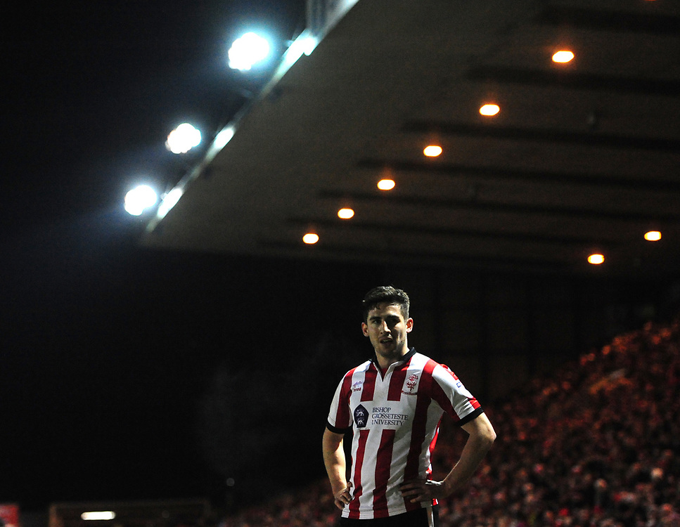 Lincoln City's Tom Pett<br /> <br /> Photographer Chris Vaughan/CameraSport<br /> <br /> The EFL Sky Bet League Two - Lincoln City v Cheltenham Town - Tuesday 13th February 2018 - Sincil Bank - Lincoln<br /> <br /> World Copyright © 2018 CameraSport. All rights reserved. 43 Linden Ave. Countesthorpe. Leicester. England. LE8 5PG - Tel: +44 (0) 116 277 4147 - admin@camerasport.com - www.camerasport.com
