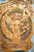 A wooden carving celebrating the building of the BAM (Baikal-Amur Mainline) Railway.Tynda Museum. Tynda, Siberia.Russia