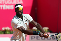 May 6, 2018 - Estoril, Portugal - Frances Tiafoe of US returns a ball to Joao Sousa of Portugal during the Millennium Estoril Open ATP 250 tennis tournament final, at the Clube de Tenis do Estoril in Estoril, Portugal on May 6, 2018. (Joao Sousa won 2-0) (Credit Image: © Pedro Fiuza/NurPhoto via ZUMA Press)