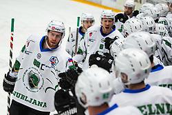 HK SZ Olimpija celebrating goal during Alps League Ice Hockey match between HDD SIJ Jesenice and HK SZ Olimpija on January 2, 2021 in Ice Arena Podmezakla, Jesenice, Slovenia. Photo by Peter Podobnik / Sportida