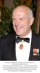 SIR NEIL COSSONS at a dinner in London on 30th May 2002.PAN 43