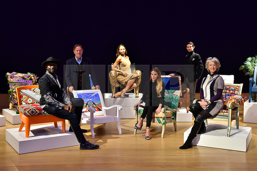 © Licensed to London News Pictures. 29/02/2016. (L to R) SAMSON SOBOYE, DAVE BENT, EMMA, VISCOUNT WEYMOUTH, VICTORIA BAKER-HARBER, MARK-FRANCIS VANDELLI and MAUREEN LIPMAN attend the Bonham's Chair Auction for Chiva African Aids Charity. They each designed chairs for the auction . London, UK. Photo credit: Ray Tang/LNP
