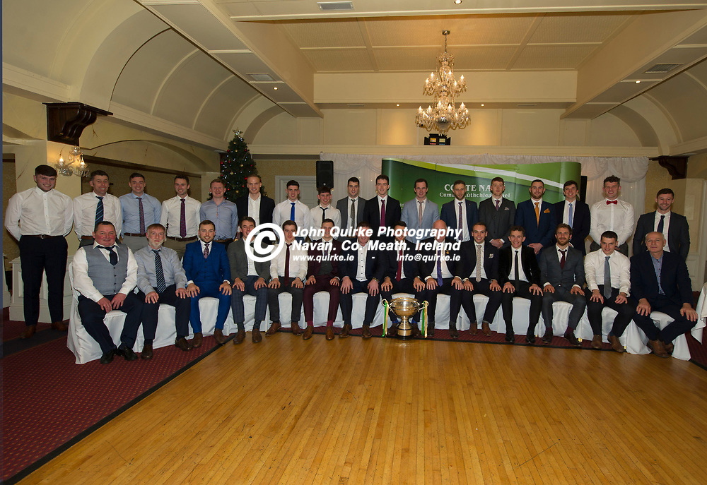 20-12-19. Meath GAA Christy Ring Cup Winners Presentation and Celebration Dinner at the Castle Arch Hotel, Trim.<br /> Meath Christy Ring Cup winning players, mentors and officials L to R.<br /> Back: Conor Fitzgerald, Niall Williams (Selector), Jack McGowan, Alan Douglas, Cathal McCabe, Colm O'Mealoid, Evan Fitzgerald, Nicky Potterton, Shane Whitty, Cormac Butler, Darragh Kelly, Keith Keoghan, Damien Healy, Shane Brennan, Eamon O'Donnchadha, Jack Regan, Barry Slevin.<br /> Front: Gerry McLoughlin & Paul Dunne (Kit Men), Padraig O'Hanrahan, James Kelly, Hugh Smith, Adam Gannon, Nick Fitzgerald (Manager), Sean Geraghty (Capt), GAA President, John Horan. Colm O'Riordan, Stephen Morris, Ger Murphy, Gavan McGowan and Conor Ferguson (Selector).<br /> Photo: John Quirke / www.quirke.ie<br /> ©John Quirke Photography, Unit 17, Blackcastle Shopping Cte. Navan. Co. Meath. 046-9079044 / 087-2579454.