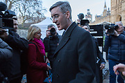 Pro-Brexit Jacob Rees-Mogg Tory MP leaves Abingdon Green after giving interviews on in Westminster on 11th December 2018 in London in the United Kingdom.