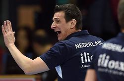 04-01-2016 TUR: European Olympic Qualification Tournament Nederland - Duitsland, Ankara <br /> De Nederlandse volleybalvrouwen hebben de eerste wedstrijd van het olympisch kwalificatietoernooi in Ankara niet kunnen winnen. Duitsland was met 3-2 te sterk (28-26, 22-25, 22-25, 25-20, 11-15) / Coach Giovanni Guidetti