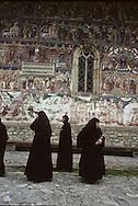 Romania.Humore. . painted monastery in Humore Moldavia,      / monastère peint  et villageois  Humore  Roumanie