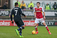 Ben Purrington (Rotherham United) controls the ball and looks up during the EFL Sky Bet Championship match between Rotherham United and Blackburn Rovers at the AESSEAL New York Stadium, Rotherham, England on 11 February 2017. Photo by Mark P Doherty.