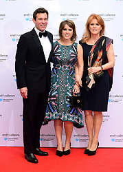 File photo dated 31/05/17 of Princess Eugenie of York and her long-term boyfriend Jack Brooksbank with her mother Sarah Ferguson, Duchess of York at the End the Silence charity fundraiser at Abbey Road Studios, London. Buckingham Palace has announced that they have become engaged.