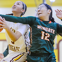 Tohatchi Cougar Kalian Mitchell (5) is fouled by Wingate BearLynette Peshlakai (12) Saturday at Tohatchi High School.